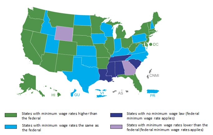 Minimum Wage Levels by State, Map 2016